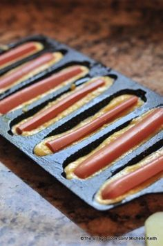 Another use for this pan!!!       Baked Corn Dogs - Cast Iron Cornbread Pan!