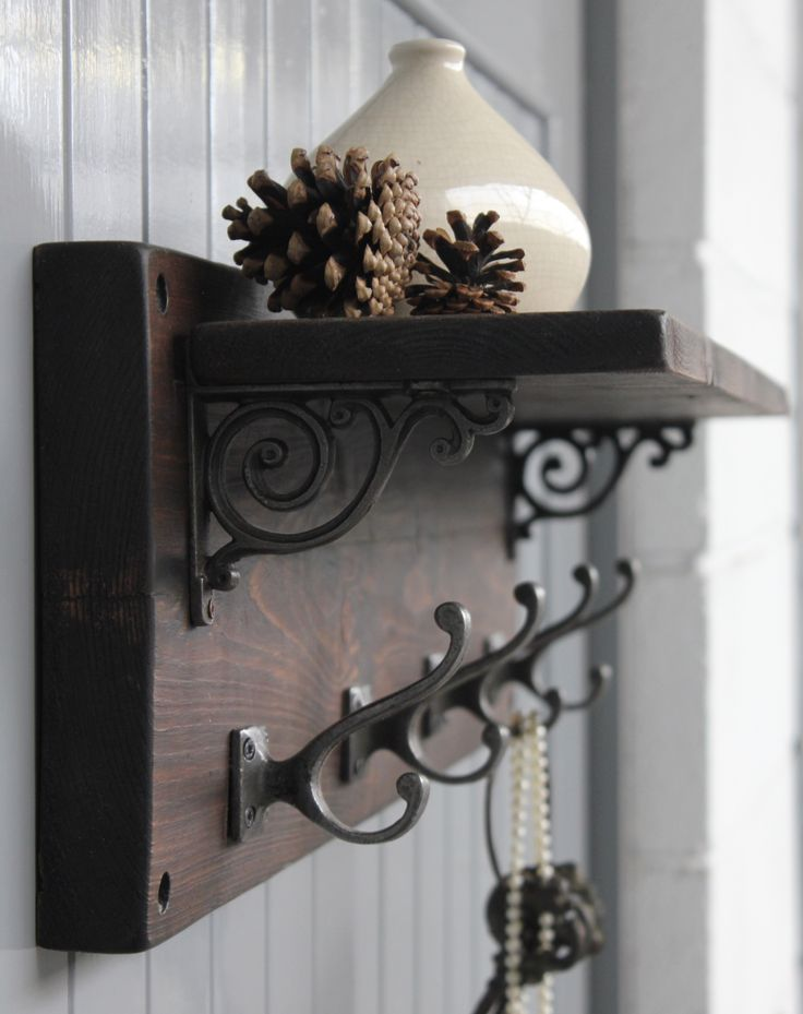 Reclaimed Wood Victorian Coat Hook Shelf £115.00  This gorgeous rustic coat hook shelf is individually handmade from reclaimed wood.  A great way to organise your family's coats and keys and a generous shelf for displaying books, mugs and jugs.