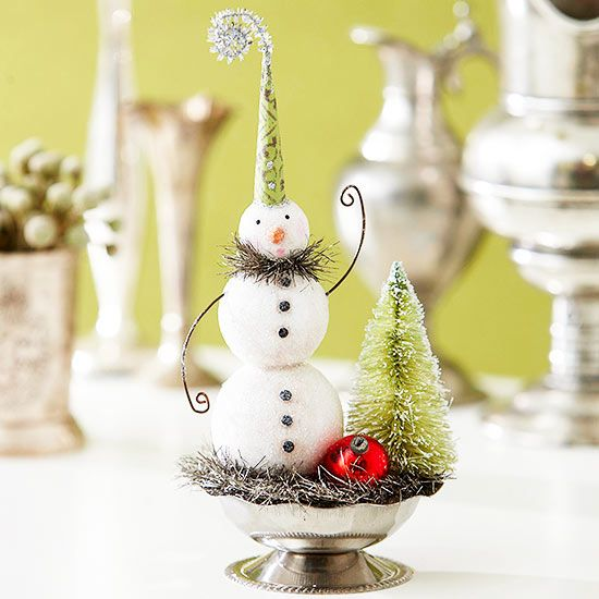 In our oversized world, tiny can be magical. LWCD - Tiny Clay Snowman Display