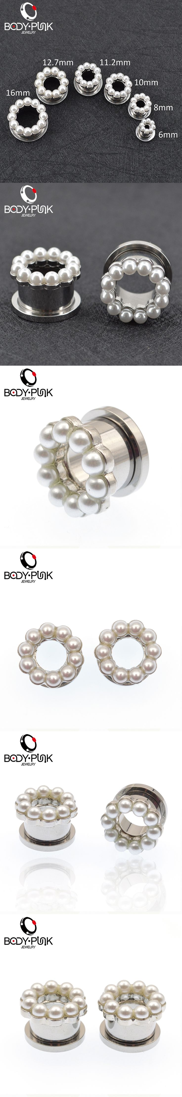 BODY PUNK Pearls Ear Plugs And Flesh Tunnels 2 Pcs Stainless Steel Fake Gauges Expander Body feminino Piercing Jewelry 6-16mm