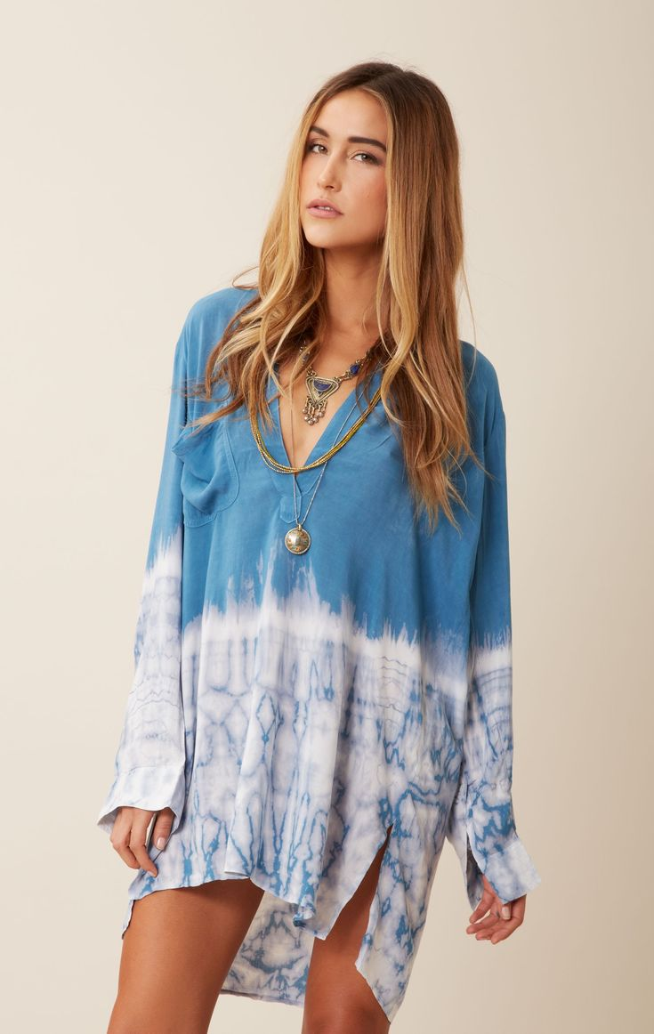 blue life tie dye shirt dress--cute as a coverup