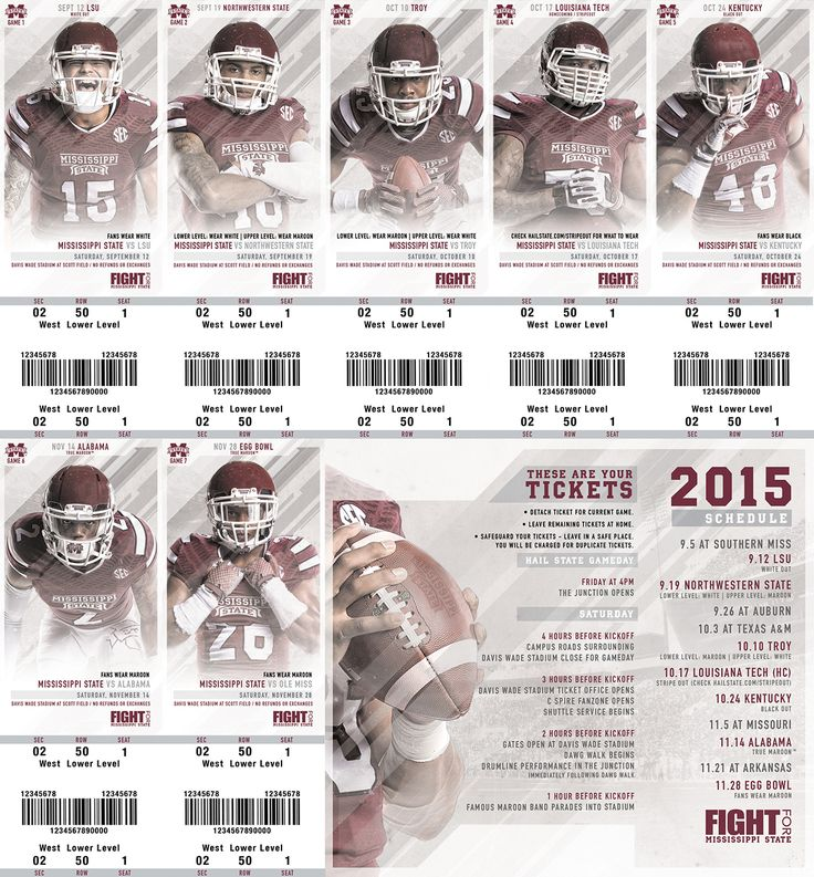 Season Ticket Design for the Mississippi State Football 2015 Season. Printed and perforated on card stock. Created to match series of schedule cards.