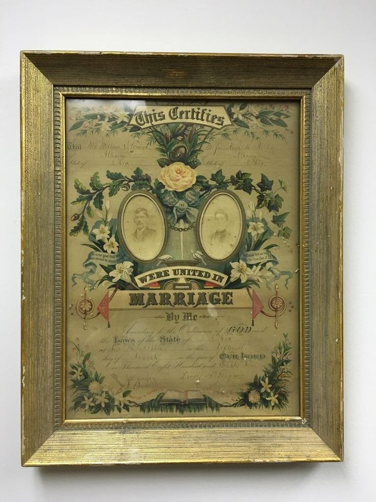 ANTIQUE FRAMED  LITHOGRAPHY AMERICAN MARRIAGE CERTIFICATE ISSUED August 1889