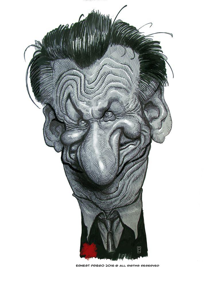Caricatura del actor y director de cine Estadounidense Sean Penn, premiado con dos Óscar por su int...