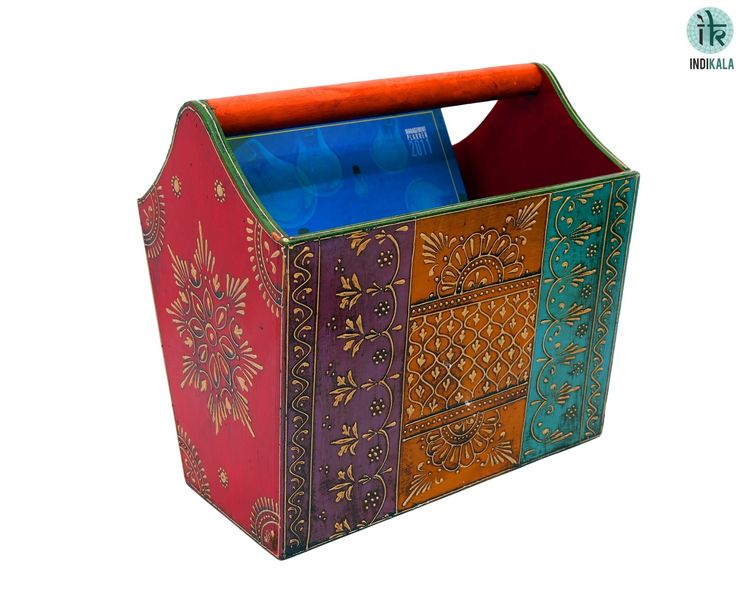 Mini cabinet for magazines/books. Adorned with Jodhpuri work.  (There may be very minor variations in color combinations, between displayed and dispatched products, due to variety of artisans who handcraft the products. The look, feel and quality will , however, be consistent with what you see. That is an Indikala promise).