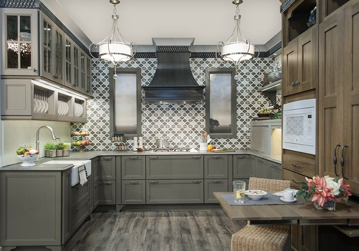 Dove or Willow? How about BOTH! Moroccan inspired tile by @villalagoontile #KBIS2015 #wellborncabinet