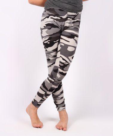 35ca266992b2b Loving this Black & Gray Camo Leggings - Girls on #zulily! #zulilyfinds