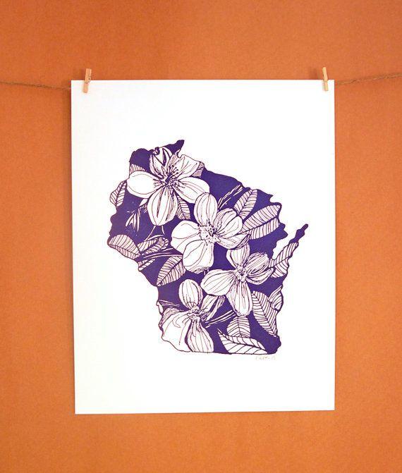 Letterpress Wisconsin Wood Violet by thimblepress on Etsy, $25.00