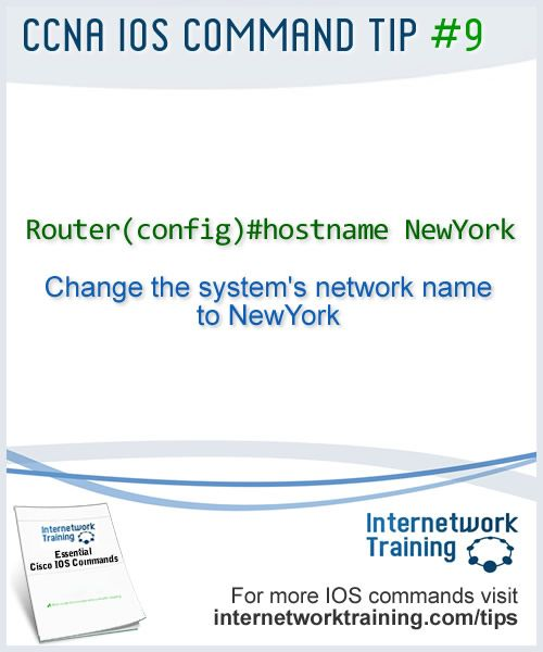 CCNA tip #9 - IOS command to change the hostname of a Cisco router or switch