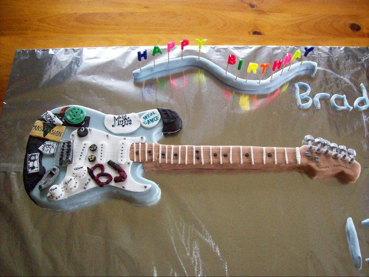 "Brad's 13th ""Blue"" Green Day  Guitar Cake."