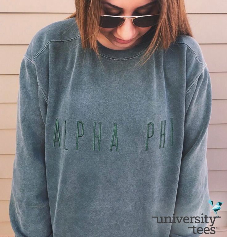 embroidered sweatshirts = the next big thing. | Alpha Phi | Made by University Tees | universitytees.com