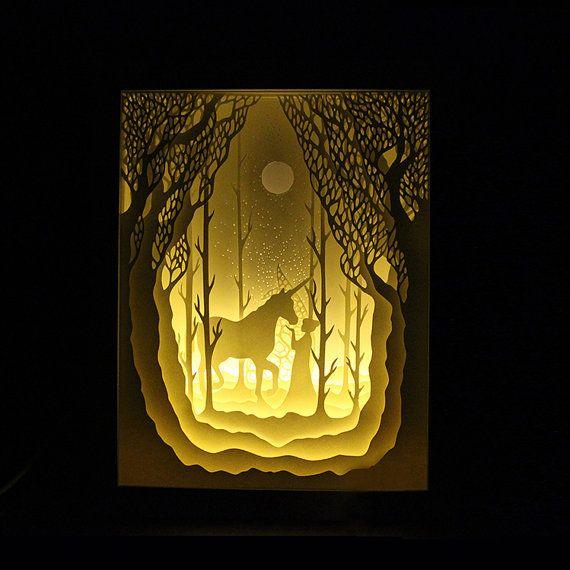 Silhouette Einhorn und Mädchen Papier geschnittenen Lichtkasten Nacht leichten Akzent Lampe Geburtstag Geschenk Idee Shadow Box Kinder Baby Kinderzimmer Zimmer Kunst lightbox