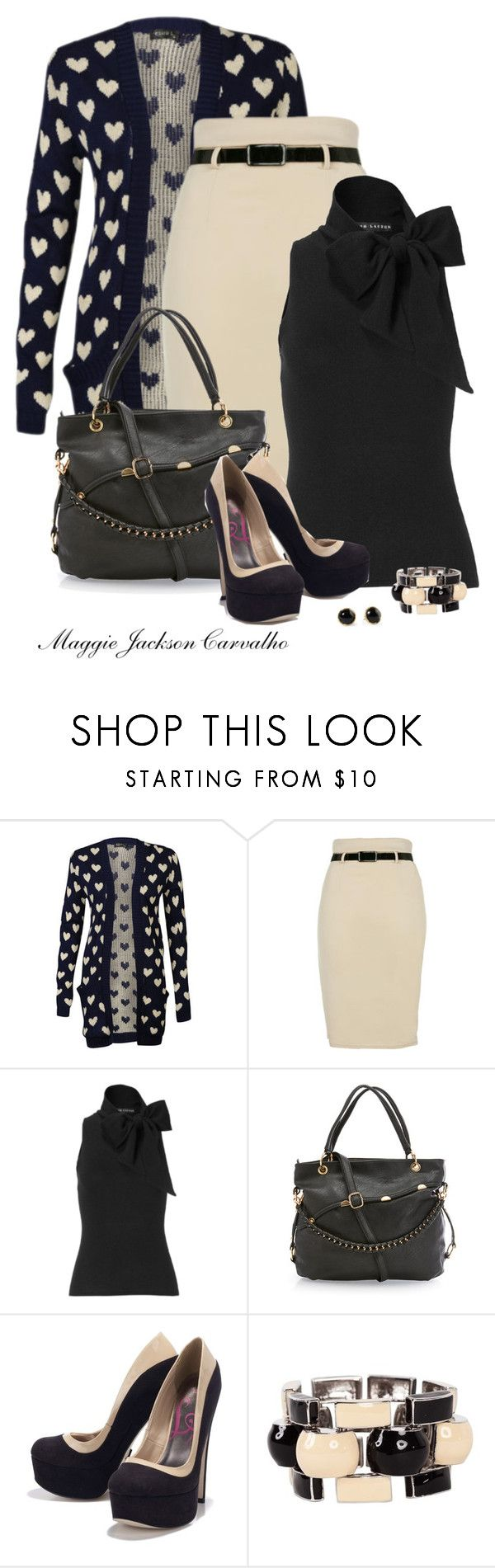"""""""Heart Cardigan"""" by maggie-jackson-carvalho ❤ liked on Polyvore featuring Club L, Ralph Lauren, Lipsy, J.W. Anderson and Pim + Larkin"""