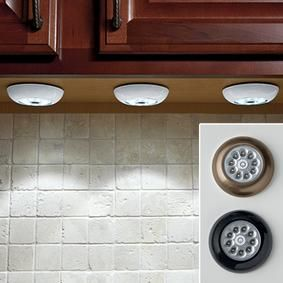 "LED Touch Lights..Bright light anywhere—no wires or expensive electricianneeded! If you need light in your kitchen, closet, basement or stairwell, this peel-and-stick touch light could be the answer. The nine long-lasting, energy-efficient LEDs deliver a brilliant wide beam of light. And because it doesn't use electricity, it's ideal for emergencies and power outages. Easily installs in seconds with the included double-stick tape. Uses 3 AAA batteries, not included. 3""-Diameter x ¾""H. $8"