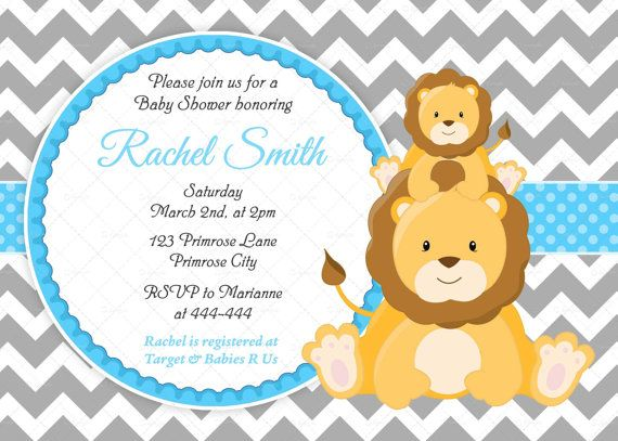 Blue and Grey Chevron Jungle Lion Boy Baby Shower Invitation and FREE Thank You Card Printable DIY on Etsy, $10.00