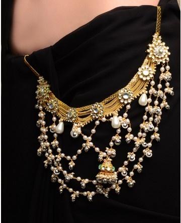 Pearl Tasseled Sari Belt with Ghunghuroos