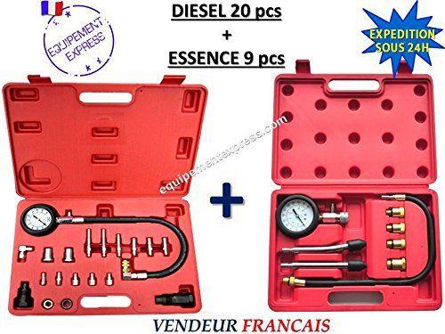 KIT Testeurs compression / Compressiomètres moteurs DIESEL 20 pcs + ESSENCE 9 pcs: KIT : Testeur de compression spécialement conçu pour la…