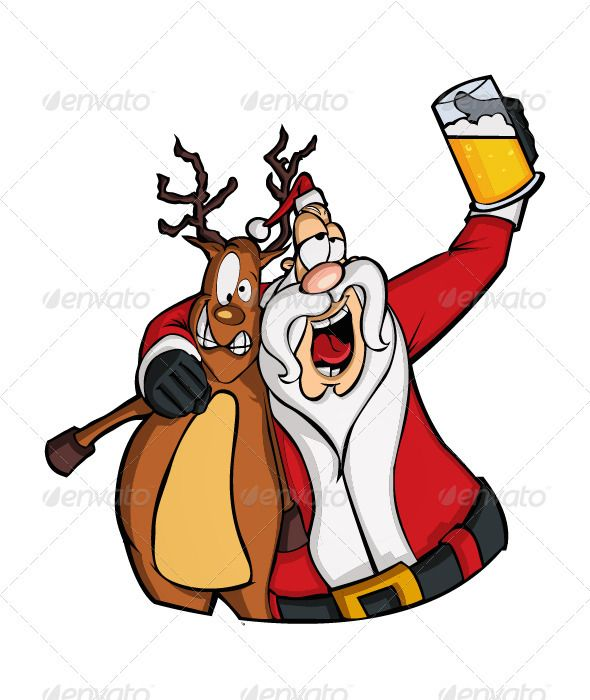 Drunk Santa Claus Cartoon Graphic design illustration