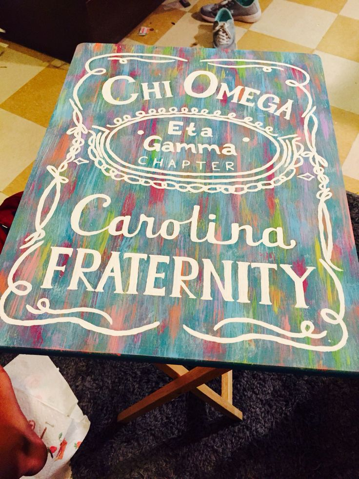 Sorority table jack Daniels tie dye canvas chi omega
