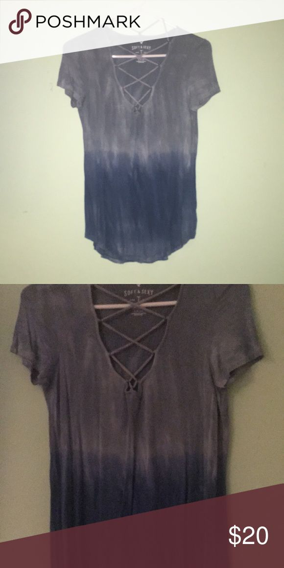 💖American Eagle Shirt Brand new never worn blue cross neck American Eagle shirt American Eagle Outfitters Tops