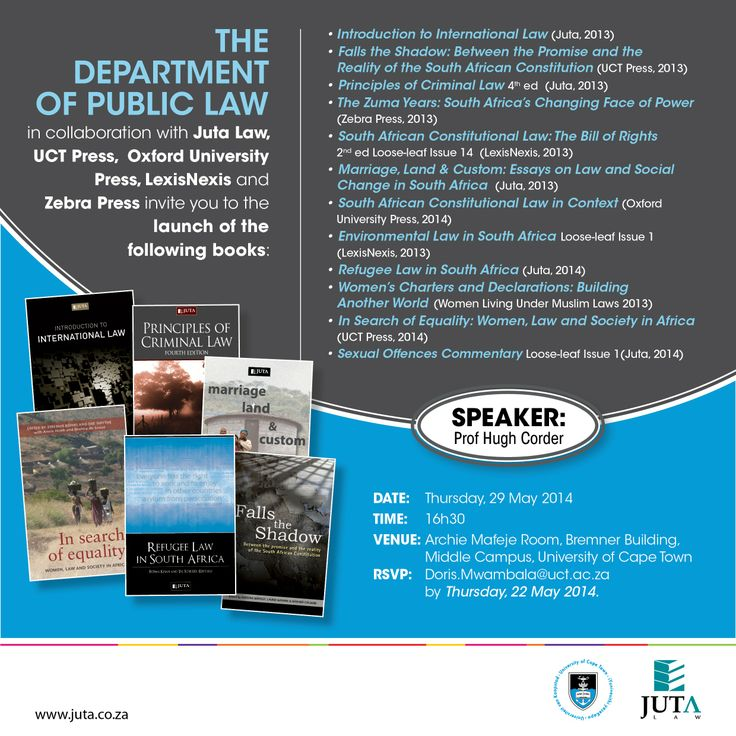 The Department of Public Law in collaboration with Juta, UCT Press, Oxford University Press, Lexis Nexus and Zebra Press invite you to a launch at UCT on 29 May 2014. Featuring Prof Hugh Corder.