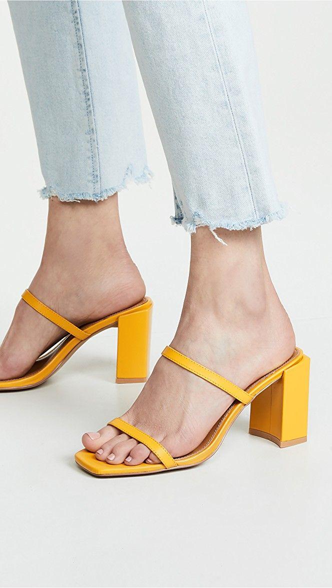 Black Square Toe Flat Block Heel Strappy Sandal