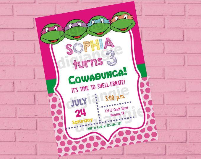 Girl Teenage Mutant Ninja Turtle Birthday Invitation Ninja, Turtles Invitation, Ninja Turtle Party, Teenage Mutant Ninja Turtles Girl