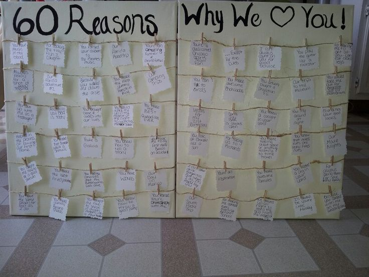 60 reasons why we love you - gift I made for my dad's 60th birthday