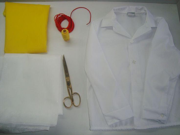 Materiales: Camisa blanca manga larga. Pelón. 1 mtrs de tela amarilla brillante. hilo amarillo. tira rojo. tijeras. Papely lapiz. 2...