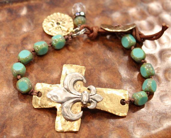 Sideways Cross Bracelet - rustic fleur de lis jewelry - Turquoise bead bracelet - hammered rustic cross bracelet - boho knotted with cross