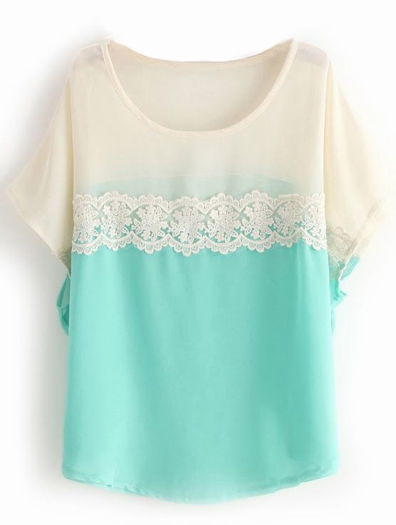 Blue and White Lace Ladies Blouse Click for more