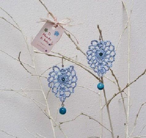 Orecchini ovali azzurri, all'uncinetto, con perla agata e strass swarovski : Orecchini di il-mondo-di-sabi