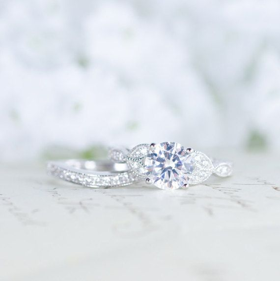 Art Deco Engagement Ring Vintage Inspired Ring by MochaRings