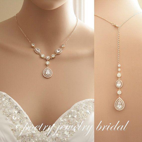 Rose Gold Bridal Back Necklace Wedding Crystal Backdrop