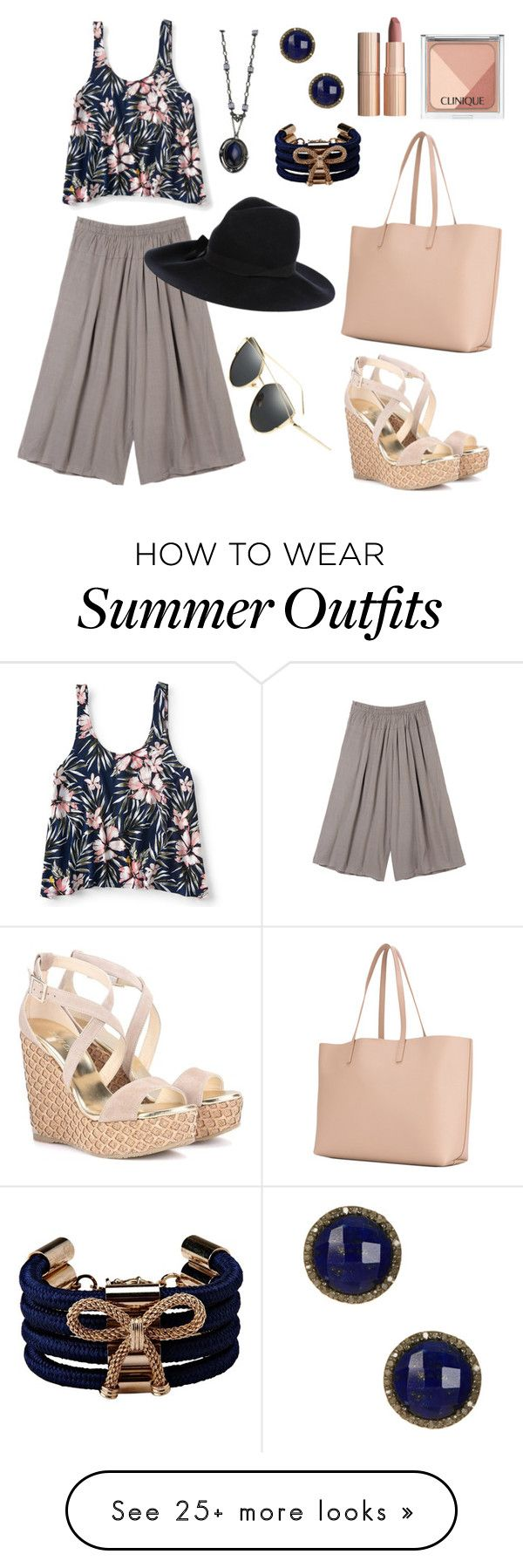 """""""casual summer outfit"""" by noviandri-ronal on Polyvore featuring Aéropostale, Jimmy Choo, Yves Saint Laurent, 1928, RED Valentino, ADORNIA, ..,MERCI, Charlotte Tilbury and Clinique"""