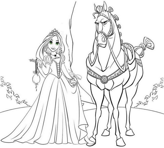 Princess Rapunzel And Maximus Horse Coloring Page Rapunzel Coloring Pages Horse Coloring Pages Horse Coloring