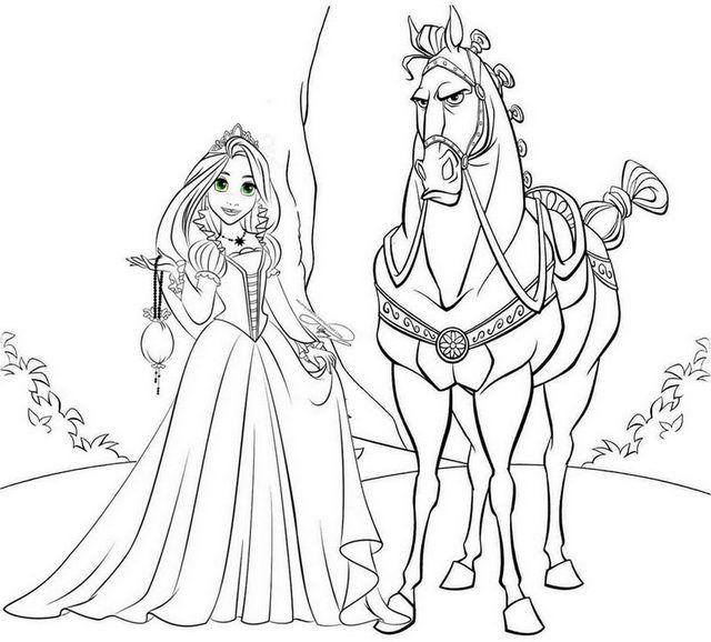 Princess Rapunzel And Maximus Horse Coloring Page Enredados
