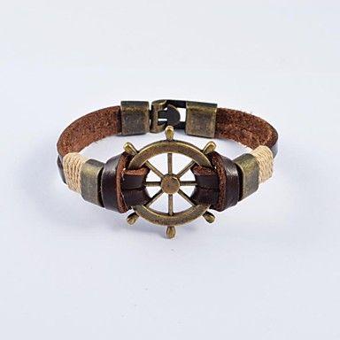 europese mannen brons, roestvrij staal tankers lederen armbanden – EUR € 7.59
