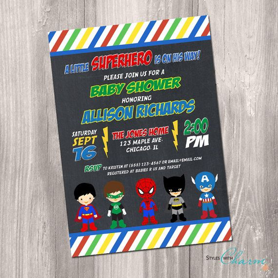 8 best superhero baby shower invitation images on pinterest | baby, Baby shower invitations
