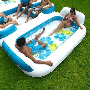 6 Person Inflatable Blue Lagoon Pool Float Raft Lake River
