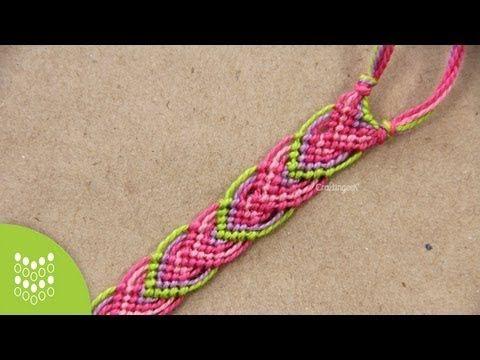como hacer una pulsera macrame con patron modelo flechas - YouTube