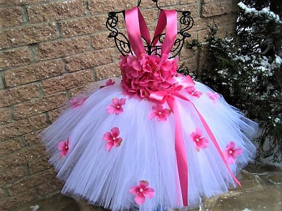 WHITE PINK FLOWERS - Tutu Dress - Flower Girl Gown - Pageant Girl Dress - Baptism Gown - First Birthday Tutu - White and Pink Tutu Dress -