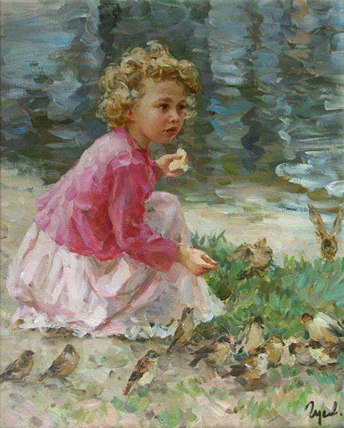 Vladimir Gusev (1957, Russian): Children Painting, Russian Artworks, Painting Of Children, Painting Art, Birds Feeding, Kids Art, Art Children, Gusev 1957, Vladimir Gusev