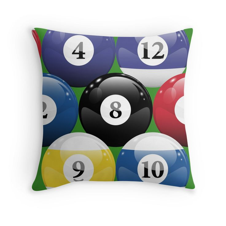If you like playing pool, then you will love this Billiards Pool Balls Racked throw pillow.