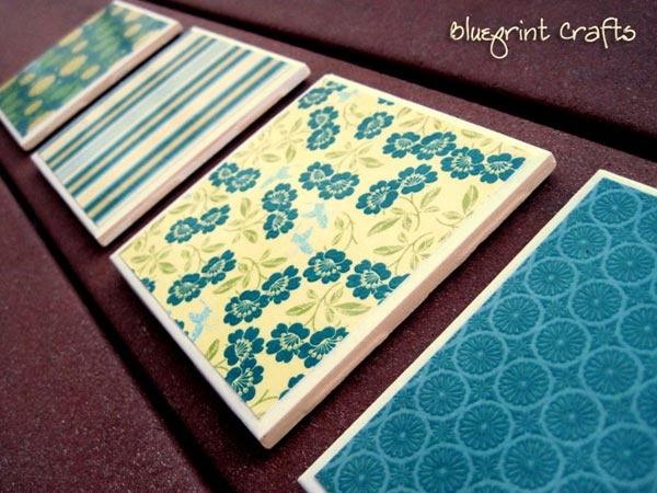 Homemade Christmas or House Warming Gift Idea - Tile Coasters made with Mod Podge and Fabric.  From Blueprint Crafts.