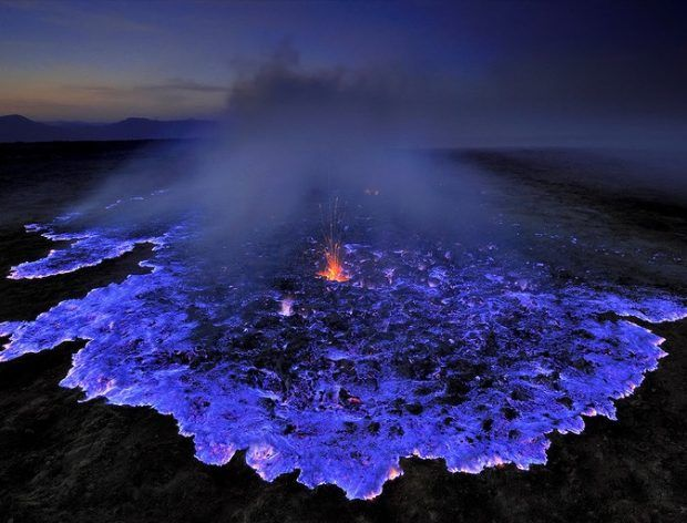 Volcano in Ethiopia burns bright blue