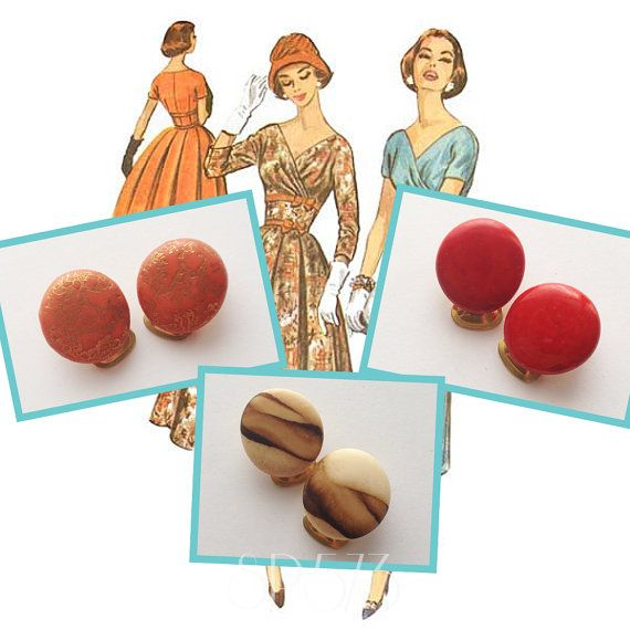 Confetti Clip on Oval earrings Repro Vintage Bakelite Pin by sp573