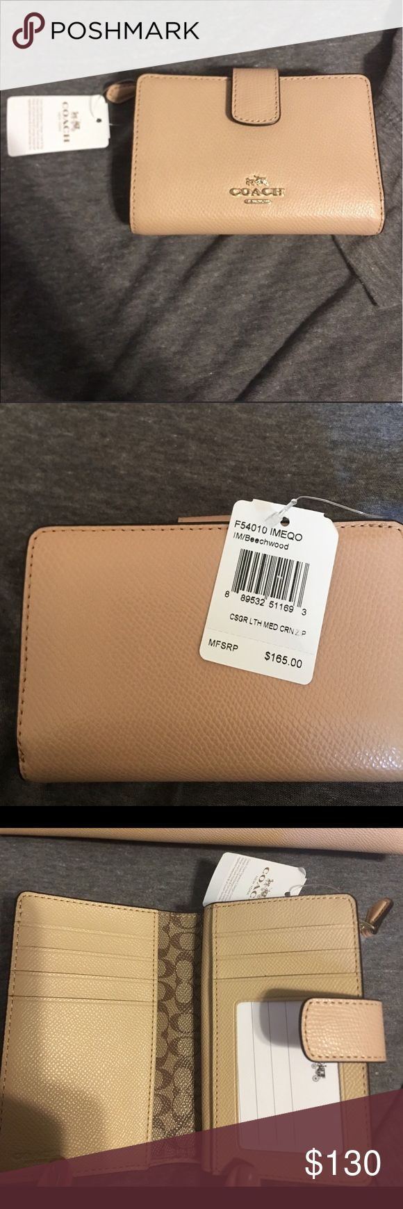 Brand new Coach wallet zip closure Crossgrain Leather Gold Hardware Six Credit Card Slots, One Bill Compartment, One Zip Coin Compartment Clear ID Slip 5.5'' (L) X 3.5'' (H) Coach Bags Wallets