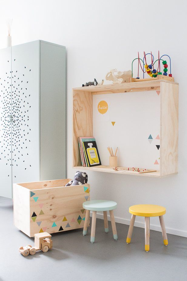 Pastel and natural wood kids room