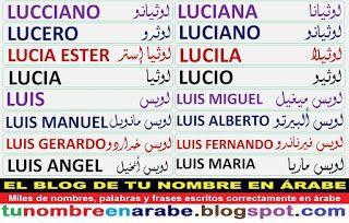 Plantillas para tattoo de nombres en arabe: LUCIA, LUIS, LUIS MANUEL, LUIS ANGEL